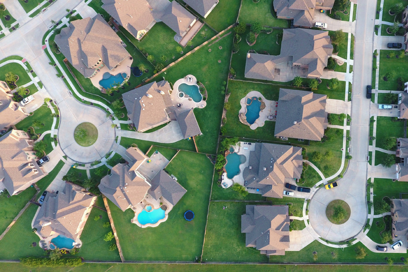 Overhead view of suburban neighborhood