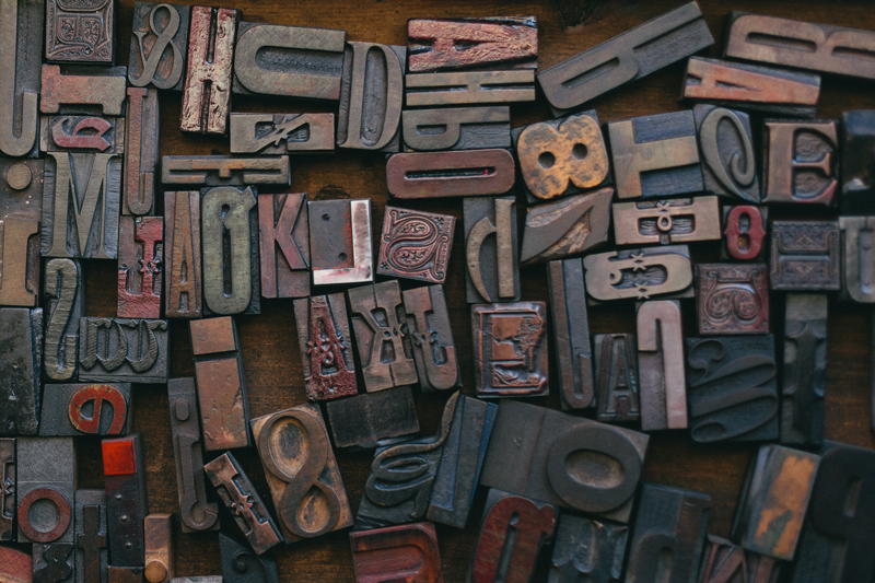Printer's type blocks