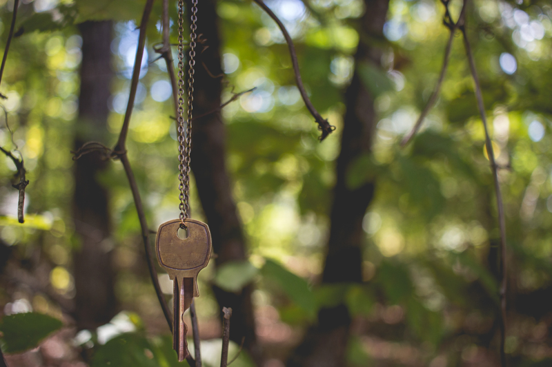 Key on long chain in front of outdoor landscape